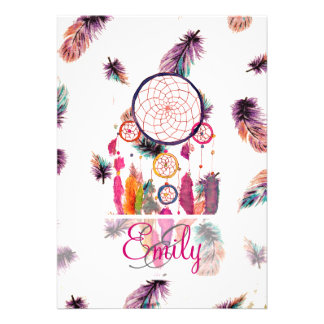 Monogram Hipster Watercolor Dreamcatcher Feathers Custom Invites