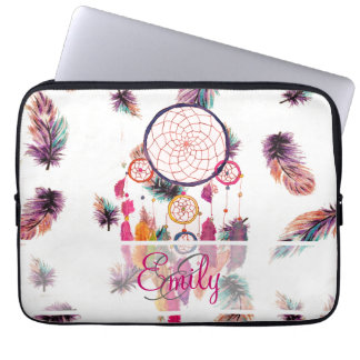Monogram Hipster Watercolor Dreamcatcher Feathers Laptop Sleeves