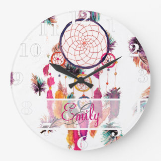 Monogram Hipster Watercolor Dreamcatcher Feathers Large Clock