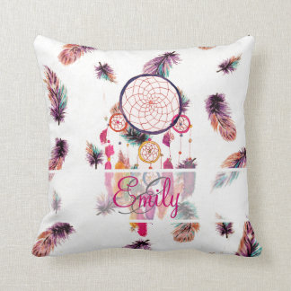 Monogram Hipster Watercolor Dreamcatcher Feathers Throw Pillow
