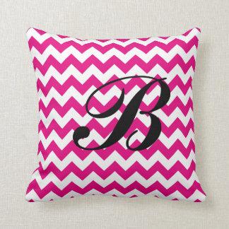 Monogram Hot Pink and White Chevron Cushion