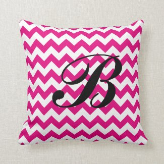 Monogram Hot Pink and White Chevron Cushion