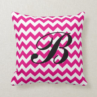 Monogram Hot Pink and White Chevron Throw Pillow