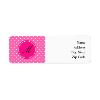 Monogram Hot Pink and White Polka Dot Pattern