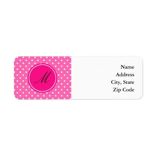 Monogram Hot Pink and White Polka Dot Pattern Return Address Label