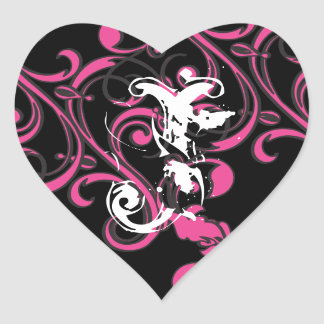 Monogram Hot Pink Black Heart Sticker