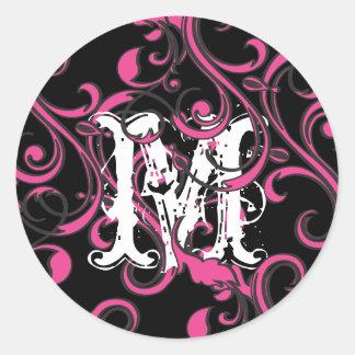 Monogram Hot Pink Black Round Sticker
