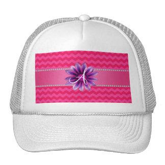 Monogram hot pink chevrons pink daisy cap