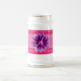 Monogram hot pink chevrons pink daisy coffee mug