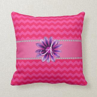 Monogram hot pink chevrons pink daisy throw pillow