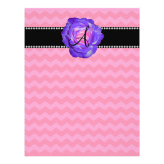Monogram hot pink chevrons purple rose flyer