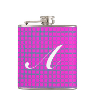 Monogram Hot Pink Cute Modern Trendy Pattern Flask