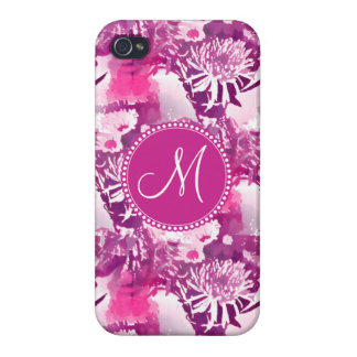 Monogram Hot Pink Flower Bouquet Collage iPhone 4/4S Case