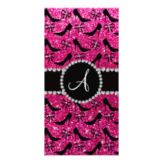 Monogram hot pink glitter black high heels bow photo greeting card