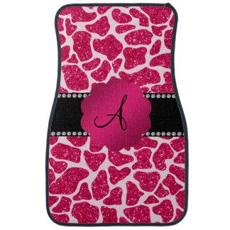 Monogram hot pink glitter giraffe print car mat