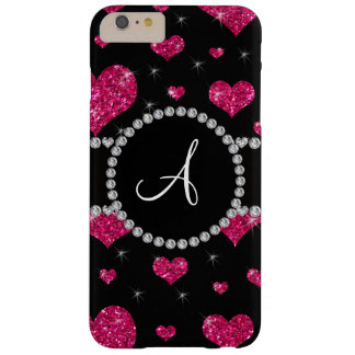 Monogram hot pink glitter hearts black diamonds barely there iPhone 6 plus case
