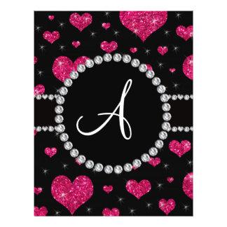 Monogram hot pink glitter hearts black diamonds flyer