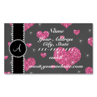 Monogram hot pink glitter hearts black diamonds magnetic business cards (Pack of 25)