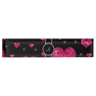 Monogram hot pink glitter hearts black diamonds name plate