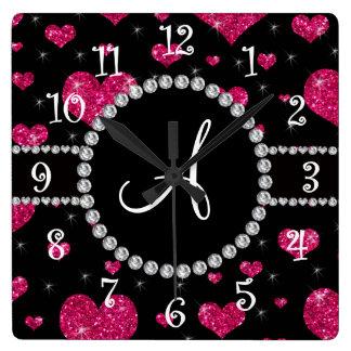 Monogram hot pink glitter hearts black diamonds square wall clock