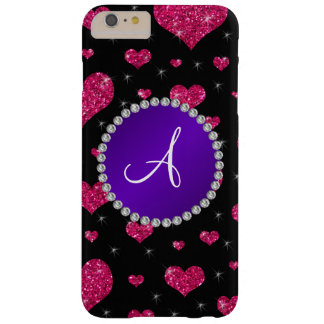 Monogram hot pink glitter hearts purple circle barely there iPhone 6 plus case