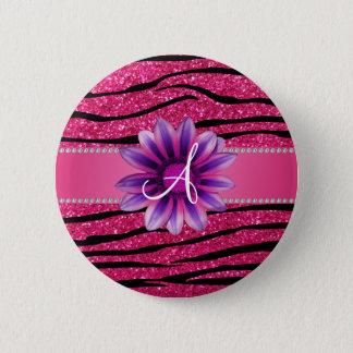 Monogram hot pink glitter zebra stripes daisy 6 cm round badge