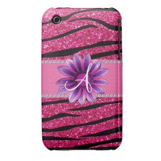 Monogram hot pink glitter zebra stripes daisy Case-Mate iPhone 3 case