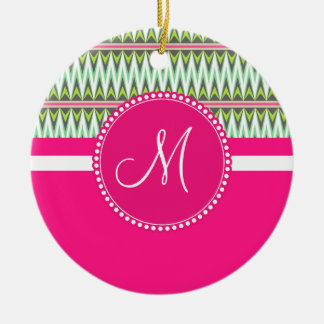 Monogram Hot Pink Green Aztec Andes Tribal Zig Zag Christmas Ornament