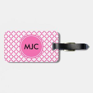 Monogram Hot Pink Quatrefoil Pattern Luggage Tag