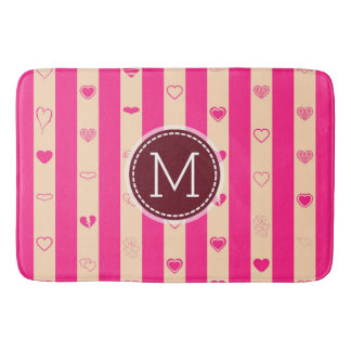 Monogram Hot Pink Stripes Modern Heart Pattern Bath Mat