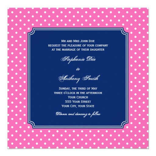 Monogram Hot Pink, White Polka Dot with Royal Blue Personalized Invite