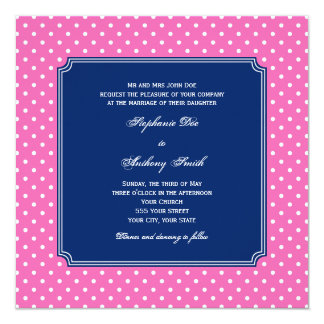 Monogram Hot Pink, White Polka Dot with Royal Blue 5.25x5.25 Square Paper Invitation Card