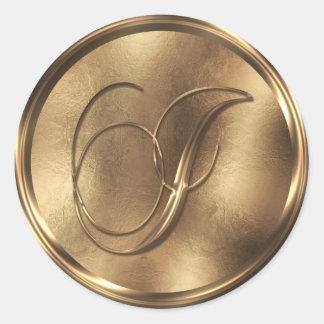 Monogram I Bronze Round Sticker