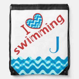 Monogram I Heart Swimming Drawstring Bags