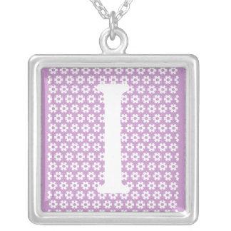 Monogram I Square Pendant Necklace