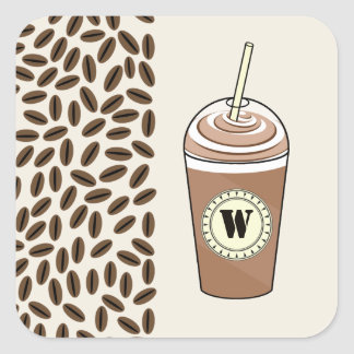 Monogram Iced Coffee To Go & Coffee Beans Square Sticker