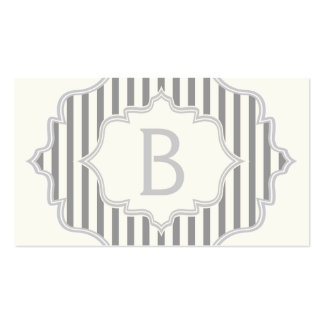 Monogram in a frame with grey white stripes business card