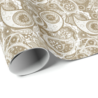 Monogram in Paisley Halftone MIPH/c Wrapping Paper