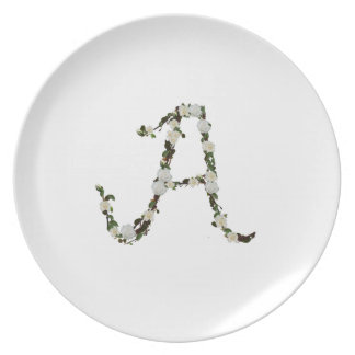 Monogram in white rose wreath dinner plate