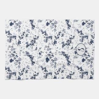 Monogram indigo blue floral design custom letter tea towel
