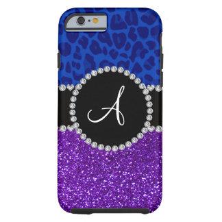 Monogram indigo purple glitter blue leopard tough iPhone 6 case