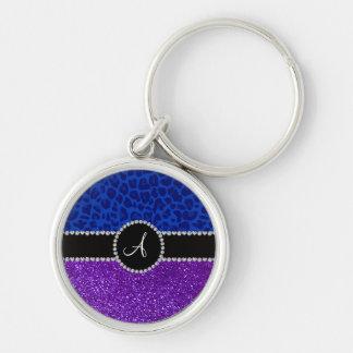 Monogram indigo purple glitter blue leopard keychain