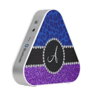 Monogram indigo purple glitter blue leopard bluetooth speaker