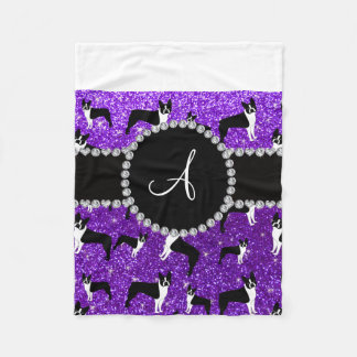 Monogram indigo purple glitter boston terriers fleece blanket