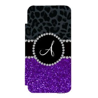Monogram indigo purple glitter dark gray leopard incipio watson™ iPhone 5 wallet case