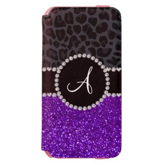 Monogram indigo purple glitter dark gray leopard incipio watson™ iPhone 6 wallet case
