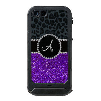 Monogram indigo purple glitter dark gray leopard incipio ATLAS ID™ iPhone 5 case