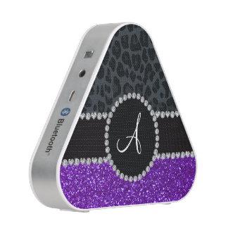 Monogram indigo purple glitter dark gray leopard speaker