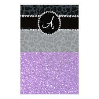 Monogram indigo purple glitter dark gray leopard stationery design