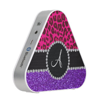 Monogram indigo purple glitter neon pink leopard bluetooth speaker